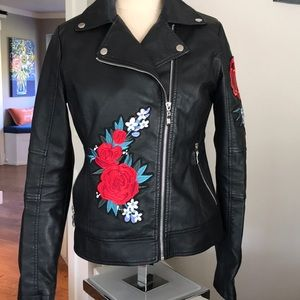 Say What Faux leather detailed jacket. Small